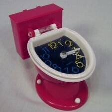 "Vintage Red TOILET CLOCK Novelty 5"" Tall WORKS"