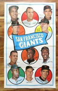 1969 TOPPS BASEBALL TEAM POSTER SAN FRANCISCO GIANTS Authentic Vintage Original