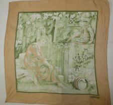 """Novelty Vtg Cacharel Art Nouveau Lady in Garden w/Children 25""""X 26"""" Scarf"""