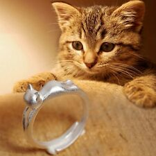 Women Party Lovely Silver Plated Wedding Design Hot Jewelry Ring Cat Kitten