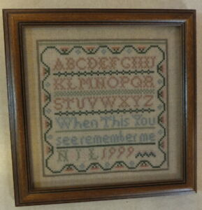 FRAMED CROSS STITCH SAMPLER WHEN THIS YOU SEE REMEMBER ME DATED 1999 W/ INITIALS