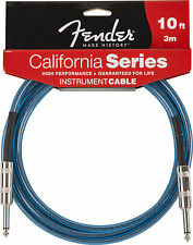 Fender 10' California Series Instrument Cable, Lake Placid Blue, Brand New