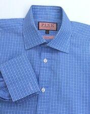 PINK by Thomas Pink blue checkered cotton F.Cuffs dress shirt Sz151/2  - 34