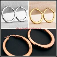 Charms Jewelry Silver/Gold/Rose Gold Stainless Steel Women's Hoop Earrings Stud
