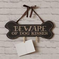Beware of Dog Kisses wood wall Hanger w /clips