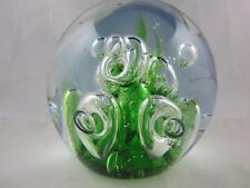 Murano Style Studio Art Glass Round Green/Blue w/ Clear Bubbles Paperweight