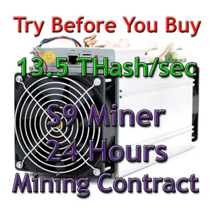 Antminer S9 rental 24 hours 13.5Th/s mining contract. Lease Sha256. Bitcoin BTC.