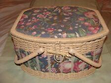 Vintage Sears Best Wicker Sewing Basket Box Floral