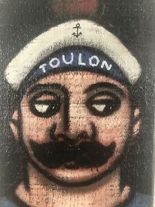 Portrait Marin Peinture sur bois Tourrier