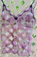 New listing Vintage Femina Purple Roses Sheer Nylon Mesh Camisole W/ Shelf Bra Xl~ Nwot