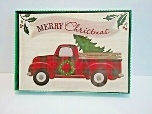 Red Truck Buffalo Plaid Tree Merry Christmas Greetings Cards 12 in Box