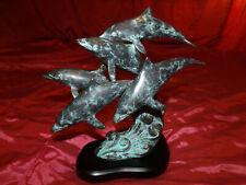 Spi Bronze Brass Set Of Five Dolphins Statue Wood Base San Pacific International