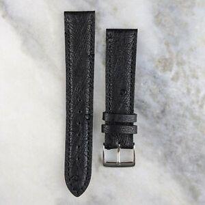 Genuine Ostrich Leather Watch Strap - Black - 18mm/20mm
