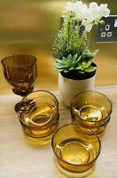 Vintage Retro Mid Century Amber Glass Bowls & Vase Danish/ Scandinavian Style