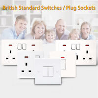 British Standard Simplicity White Square Edged Plug Sockets and Switches -5 Size