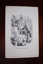 ✒ 1844 Victor HUGO - gravure Notre Dame de Paris - Théâtre sur la table marbre
