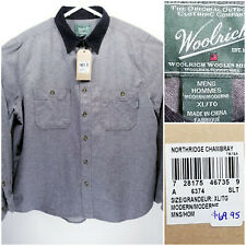 NWT Woolrich Mens XL Shirt Long Sleeve Button Up Gray 100% Cotton