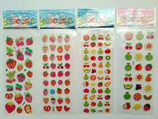 4x Kleine Früchte -3D Sticker Aufkleber Obst Basteln einkochen Kinder puffy