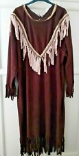 Adult Ladies Native American Dress Costume Wild West Fancy Dress One size Loose