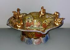 Antique Vintage RARE Moser ? Glass Hand Painted Enameled Centerpiece Signed ROYO