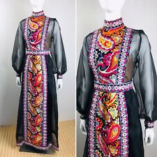Vtg 1960's Donald Brooks Black Silk Psychedelic Embroidered Couture Formal Gown