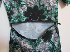 Green Black & White Floral Cut Out Middle Zip Stretch Topshop Dress in Size 8