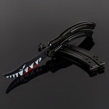 SHARK BLACK Practice CSGO BALISONG METAL Tactical Combat Trainer BUTTERFLY Knife