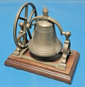 Vintage Decorative Brass Swing Bell on Wood Stand