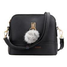 Korean Style Women PU Leather Shoulder Bag with Plush Ball Crossbody Bag Purse