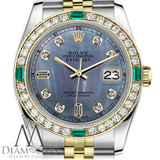 Ladies Rolex 26mm Datejust 2 Tone Tahitian Mother of Pearl Emerald Diamond Dial