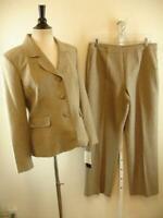 NWT $160 Womens 10 Le Suit Taupe Herringbone Tweed 2-Pc Pants Suit Jacket Blazer
