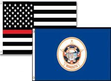 2x3 Usa Fire Thin Red Line Minnesota State 2 Pack Flag Wholesale Set Combo 2'x3'