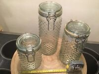 Very Nice Clear Glass Canister Set of Three (3) Round Canisters