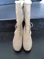 Bass Sundance Womens Boots Leather upper Zipper Lace Faux Fur Soft Size 10M