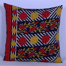 """Indian Vintage Kantha Quilted Throw Cushion Cover Ethnic Sofa Decor Pillow 20"""""""