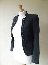 NEXT Lana Mix Giacca Stile Vintage 8 UK maniche lunghe a righe color antracite Completamente Foderato