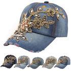 Fashion Women Men Rhinestone Crystal Denim Hat Bling Baseball Caps Adjustable CA