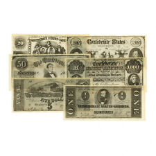 1 set of 6 diff. Confederate  reproduction Set C currency uniface 1861-64