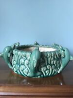 Vintage USA Pottery Planter With Waves And Dolphins