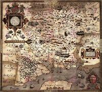 Map Antique 1575 Saxton Hampshire Southampton Wight Replica Canvas Art Print