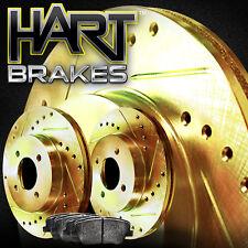 [FRONT KIT]GOLD HART DRILLED SLOTTED BRAKE ROTORS AND SEMI MET PAD GHCF.61103.03
