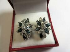 VINTAGE ART DECO PASTE SAPPHIRE & DIAMOND CLUSTER EARRINGS!