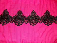 11cm black embroidered bead venise lace bridal wedding dress prom trim veil net