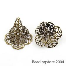10pcs Tibetan Filigree Flower Bead Caps 3-Petal Antique Bronze Big Cone 24x29mm