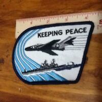 """KEEPING PEACE Patch 4"""" x 3"""", Air Force Jet, US Navy Ship, Keepers NATO"""