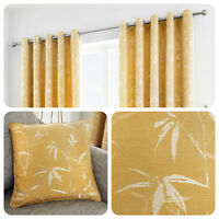 Curtina SAGANO Eyelet Curtains Ready Made Lined Pair Drapes Yellow Ochre Cushion