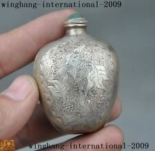 21g Old Chinese 100%999 pure silver jade fish goldfish lotus snuff bottle statue