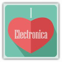 "I Love Electronica Heart Music Car Bumper Sticker Decal 5"" x 5"""