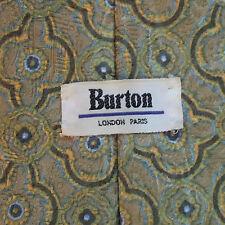 BURTON VINTAGE WIDE TIE RETRO 1970s 1980s MOD GOLDEN PATTERN CREAM BLUE GREEN