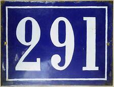 Large old French house number 291 door gate plate plaque enamel steel metal sign
